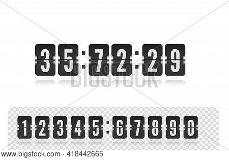 Vector Coming Soon Web Page Design Template With Flip Time Counter. Vector Illustration Template. Sc