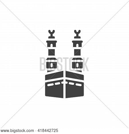 Kaaba Mosque Vector Icon. Filled Flat Sign For Mobile Concept And Web Design. Mosque Minaret Glyph I