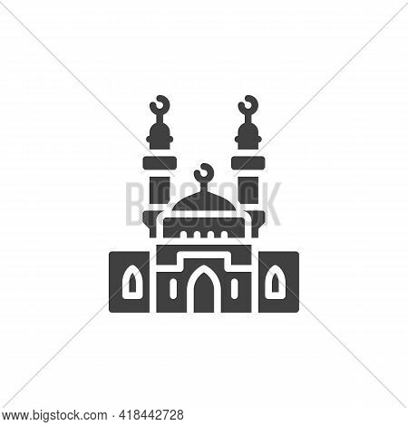 Mosque Minaret Vector Icon. Filled Flat Sign For Mobile Concept And Web Design. Holy Mosque With Cre