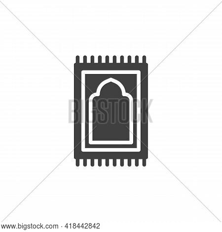 Prayer Rug Vector Icon. Filled Flat Sign For Mobile Concept And Web Design. Namaz Praying Rug Glyph