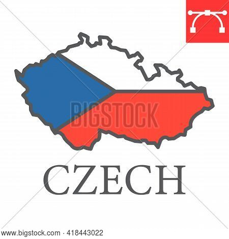 Map Of Czech Republic Color Line Icon, Country And Travel, Czech Map Flag Vector Icon, Vector Graphi