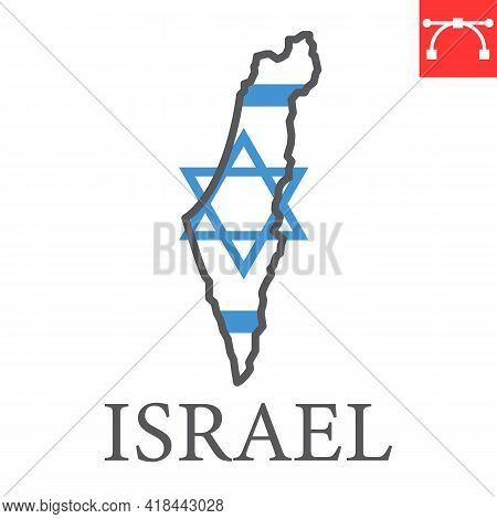 Map Of Israel Color Line Icon, Country And Travel, Israel Map Flag Vector Icon, Vector Graphics, Edi
