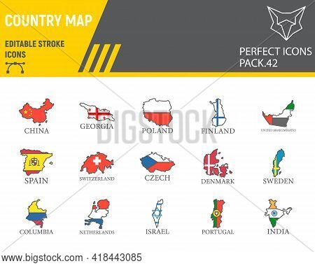 Map Of Country Color Line Icon Set, Country Collection, Vector Graphics, Logo Illustrations, Flag Ma