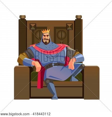 Cartoon King. Majesty Happy King Character On The Throne, Wearing Crown And Mantle, Cartoon Vector I