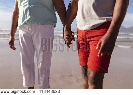 Mid section of african american couple holding hands standing on the beach. travel vacation retirement lifestyle concept