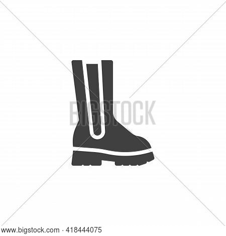 Calf Boots Vector Icon. Filled Flat Sign For Mobile Concept And Web Design. Boot Shoe Glyph Icon. Sy