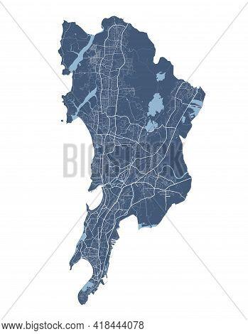 Mumbai Map. Detailed Vector Map Of Mumbai City Administrative Area. Cityscape Poster Metropolitan Ar