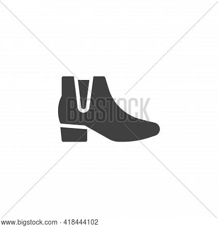 Ankle Boots Vector Icon. Filled Flat Sign For Mobile Concept And Web Design. Womens Boots Glyph Icon
