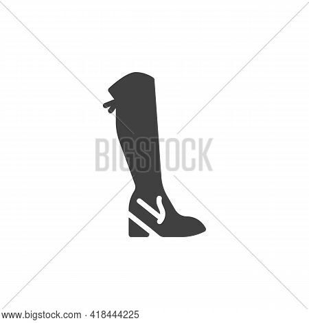 Knee Boots Vector Icon. Filled Flat Sign For Mobile Concept And Web Design. Knee-high Boots Glyph Ic
