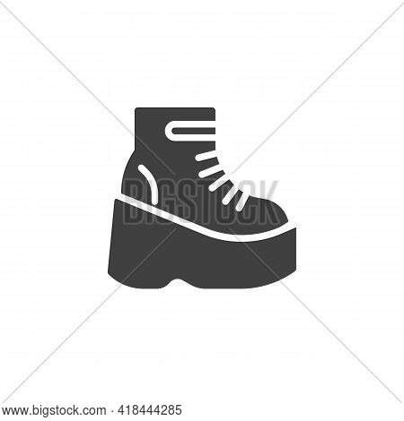 Platform Boot Vector Icon. Filled Flat Sign For Mobile Concept And Web Design. Women Boot Shoes Glyp
