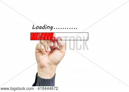 Hand Drawn Man Drawing Of Loading Bar Situation With Red Marker On Transparent Glass Board Isolated