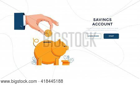 Savings Account Landing Page Template. Businessmans Hand Puts Coin Into The Piggy Bank For Saving Up