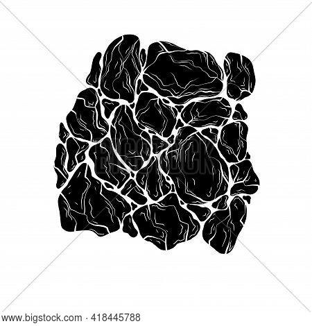 Monochrome Illustration Of Black Silhouette Of Stones. Earthquake With Earth Destruction. Natural Di