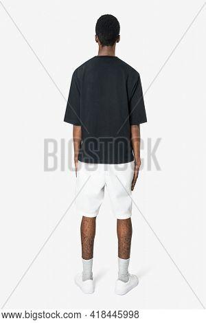 Black t-shirt and shorts men's basic wear rear view