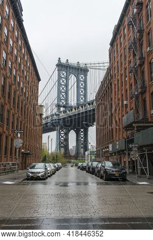 New York City,ny - April 25,2018 : Manhattan Bridge View From Brooklyn Dumbo Neighborhood. Manhattan