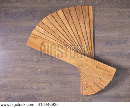 Laminate floor on wood background texture. Wooden laminate floor plank with copy space