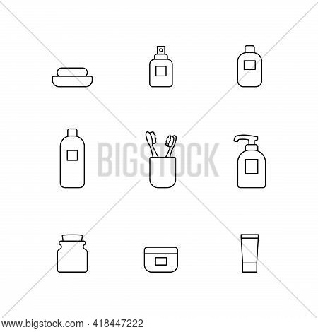 Bathroom Vector Icon Set. Simple Bathroom Accessories Thin Line Outline Signs Collection. Personal H