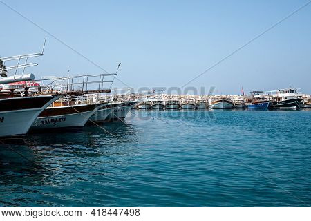 Kemer, Turkey - 07 July 2020. Many Yachts And Boats In The Harbor. Ships On Pier In Port. Sea Travel