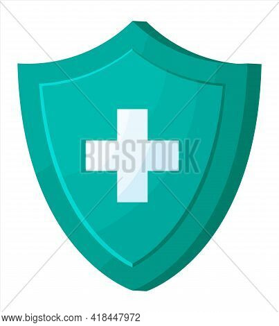 Medical Protection Shield With Health Cross. Defence Icon, Healthcare Security Tag, Safety Badge. He