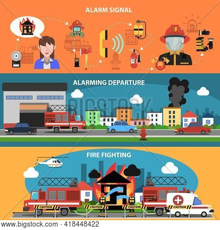 Fire Fighting Departure Horizontal Banner Set With Alarm Signal Elements Isolated Vector Illustratio