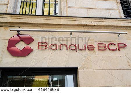 Bordeaux , Aquitaine France - 04 22 2021 : Bcp Banque De Commerce Et De Placements Text Sign And Bra