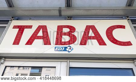Bordeaux , Aquitaine France - 04 22 2021 : Fdj And Tabac Sign Logo And Brand Text Of France National
