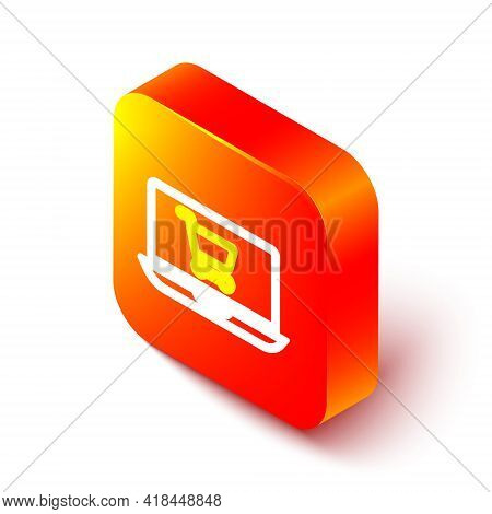 Isometric Line Shopping Cart On Screen Laptop Icon Isolated On White Background. Concept E-commerce,