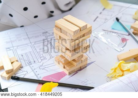 Architect Designer Interior Creative Working Hand Playing A Block Wood Game On Desk Architectural Pl