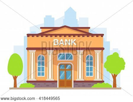Bank Building With Columns. Flat Style Vector Illustration.government Building.financial House.build