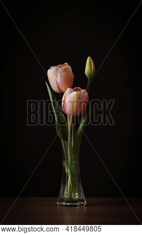 Pink Tulips In A Transparent Vase On A Dark Background.