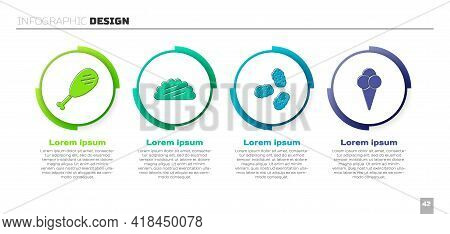 Set Chicken Leg, Taco With Tortilla, Chicken Nuggets And Ice Cream In Waffle Cone. Business Infograp