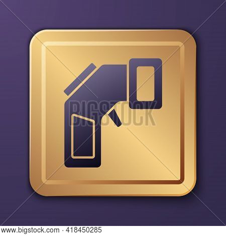 Purple Digital Contactless Thermometer With Infrared Light Icon Isolated On Purple Background. Gold