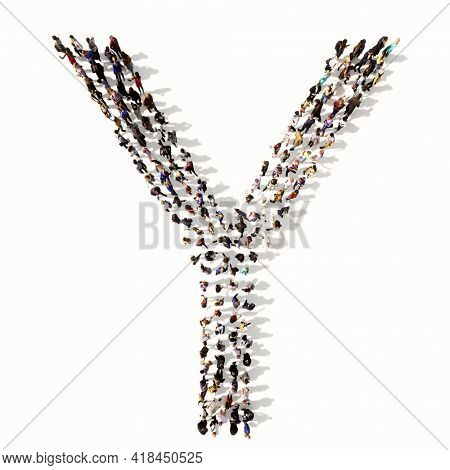 Concept or conceptual large community of people forming the font Y. 3d illustration metaphor for unity and diversity, humanitarian, teamwork, cooperation, education, friendship and community