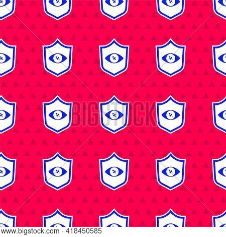 Blue Shield Eye Scan Icon Isolated Seamless Pattern On Red Background. Scanning Eye. Security Check