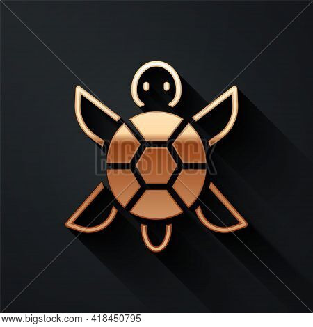 Gold Turtle Icon Isolated On Black Background. Long Shadow Style. Vector