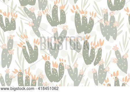 Pastel Cactus Garden Seamless Vector Pattern. Sweet Painted Cactus Garden In Pastel Pinks And Greens