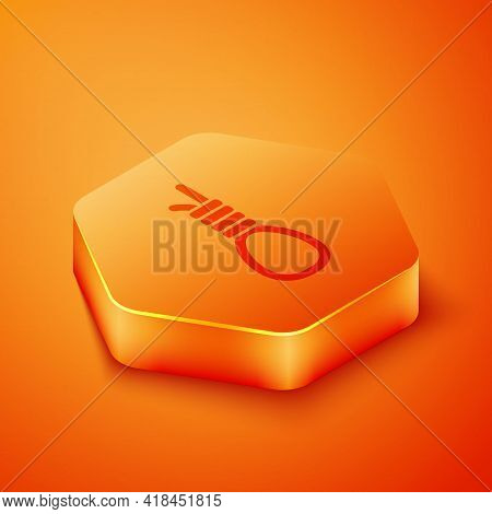 Isometric Gallows Rope Loop Hanging Icon Isolated On Orange Background. Rope Tied Into Noose. Suicid