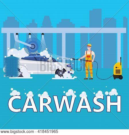 Car Washing Auto Center Station. Service Man Worker Washing, Clean Car, Foam Bubbles. Vector Illustr