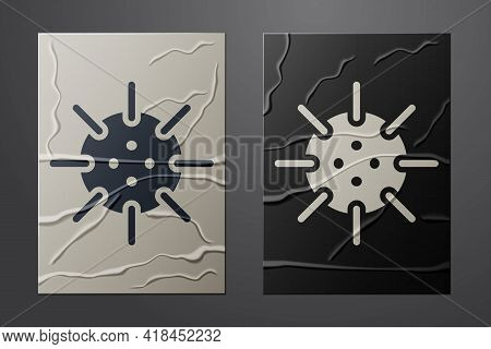 White Naval Mine Icon Isolated On Crumpled Paper Background. Sea Bomb. Paper Art Style. Vector