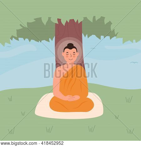 Cute Peaceful Lord Buddha In Yellow Robe Meditating In Lotus Posture With Closed Eyes. Buddhist Reli