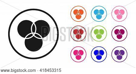 Black Rgb And Cmyk Color Mixing Icon Isolated On White Background. Set Icons Colorful. Vector