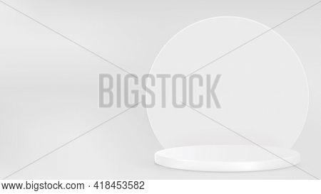 Display podium 3D rendering minimal gray product backdrop