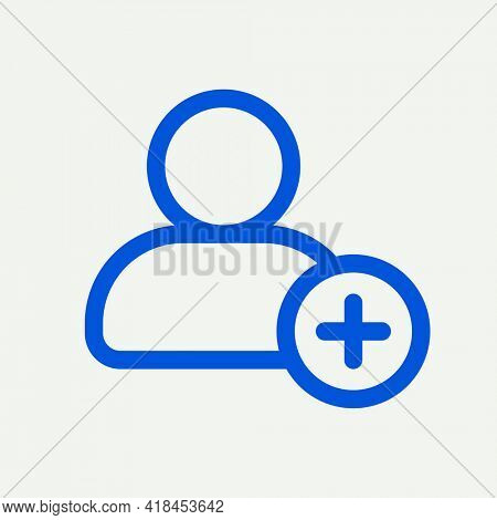 Add friend blue icon for social media app minimal line