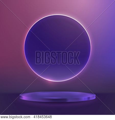 3D purple product display podium with pink neon ring in modern style