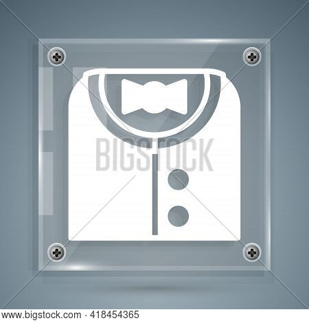 White Suit Icon Isolated On Grey Background. Tuxedo. Wedding Suits With Necktie. Square Glass Panels