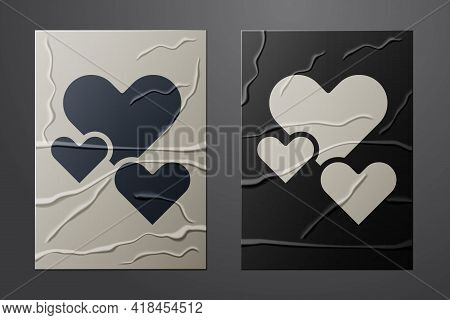 White Heart Icon Isolated On Crumpled Paper Background. Romantic Symbol Linked, Join, Passion And We