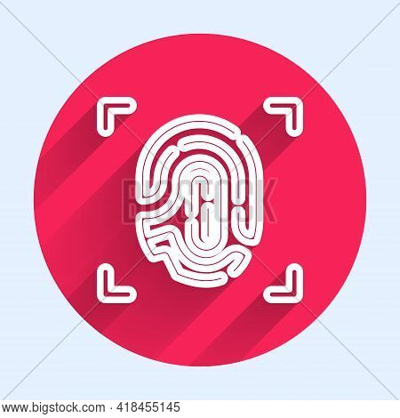 White Line Fingerprint Icon Isolated With Long Shadow. Id App Icon. Identification Sign. Touch Id. R