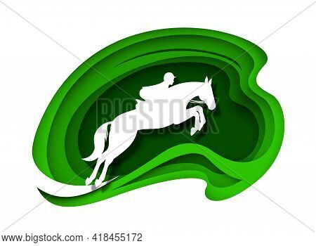 Equestrian Sport. Horse Racing. Racehorse With Rider Jockey White Silhouettes, Vector Paper Cut Illu