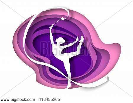 Beautiful Girl, Gymnast Silhouette Dancing With Ribbon, Vector Illustration In Paper Art Style. Rhyt