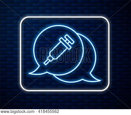 Glowing Neon Line Addiction To The Drug Icon Isolated On Brick Wall Background. Heroin, Narcotic, Ad